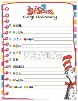 Dr. Seuss Emoji Pictionary and Matching Game for Read Across America {BUNDLE}