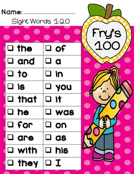 ***BUNDLE*** Fry's First 100 200 300 Sight Words Checklists & Certificates  Fry
