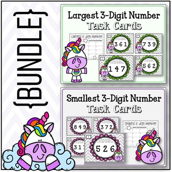 {BUNDLE} Largest and Smallest 3- Digit Numbers.  Task Card Sets.