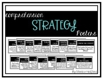 *BUNDLE* Metacognitive & Comprehension Strategy Posters - Simple B/W *EDITABLE*