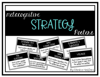 *BUNDLE* Metacognitive & Comprehension Strategy Posters - Simple B/W *EDITABLE*