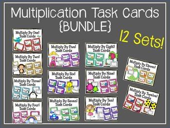 {BUNDLE} Multiplication Task Cards. 12 Sets. 1-12 Times Ta