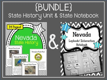 {BUNDLE} Nevada State Lapbook and State History Unit. Interactive Notebook