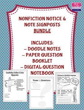 **BUNDLE** Nonfiction Notice & Note Signposts Materials