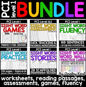 Special Education BUNDLE PCI Level 1 Sight Words - Worksheets, Games, Passages
