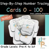 **BUNDLE** Step-By-Step Number Tracing Cards 0-100