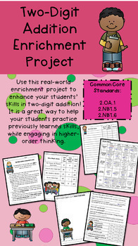 **BUNDLE** Three Grade 2 Two-Digit Addition/Subtraction Math Enrichment Projects
