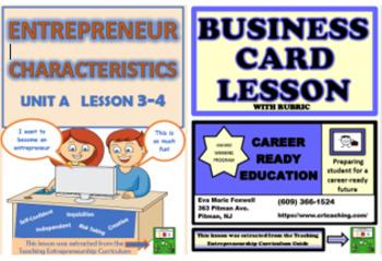 ***BUNDLE*** Teach Entrepreneur Characteristics and Create a Business Card