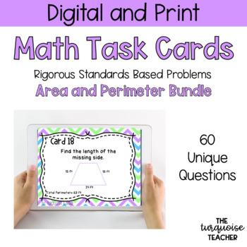 *BUNDLE* Third Grade Area and Perimeter Task Cards / Google Slides