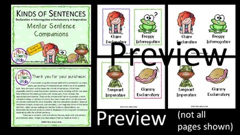 *BUNDLE* Mentor Sentence Companions: Types & Kinds of Sentences