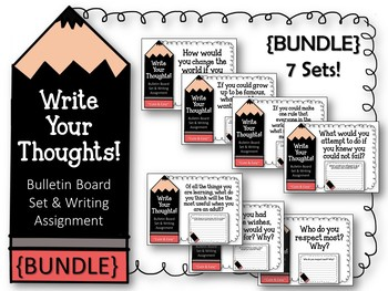 {BUNDLE} Write Your Thoughts. Bulletin Board Sets. Writing Assignments.  ALL 7!