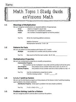 **BUNDLE!** enVisions Topics 1 - 16 Study Guides for Fourth Grade!