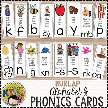 {BURLAP} Alphabet & Phonics Cards