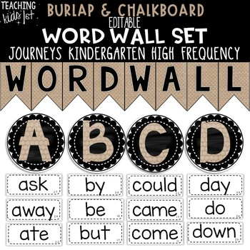 {BURLAP & CHALKBOARD} Journeys Kindergarten High Frequency Word Wall Set