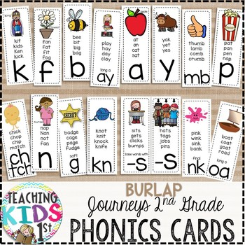 {BURLAP} Journeys 2nd Grade Phonics Cards