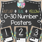 {BURLAP, TEAL, YELLOW, CHALKBOARD} 0-30 Number Posters with tens frames