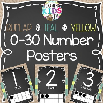{BURLAP, TEAL, YELLOW, CHALKBOARD} 0-30 Number Posters wit