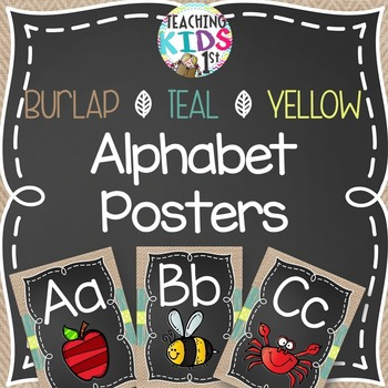 {BURLAP, TEAL, YELLOW, CHALKBOARD} Alphabet Posters with pictures
