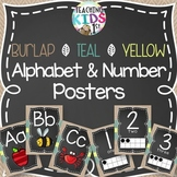 {BURLAP, TEAL, YELLOW, CHALKBOARD} Alphabet and Number Posters Bundle