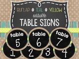 {BURLAP, TEAL, YELLOW, CHALKBOARD} Editable Table Signs