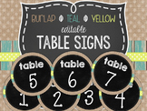 {BURLAP, TEAL, YELLOW, CHALKBOARD} Editable Table Signs