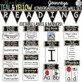 {BURLAP, TEAL, YELLOW, CHALKBOARD} Journeys Kindergarten Focus Wall Set