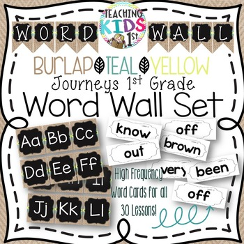 {BURLAP, TEAL, YELLOW} Journeys 1st Grade High Frequency Word Wall Set