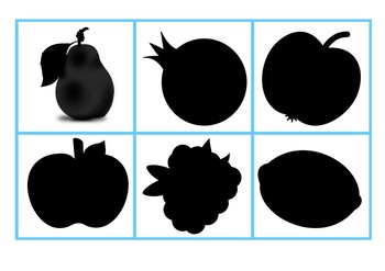 ¡ BUSCA LA SOMBRA !   FRUTAS       ¡MATCH THE FRUIT TO ITS SHADOW!