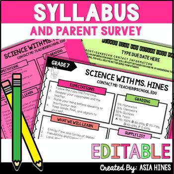 *Back To School* Parent Guardian Survey for Syllabus