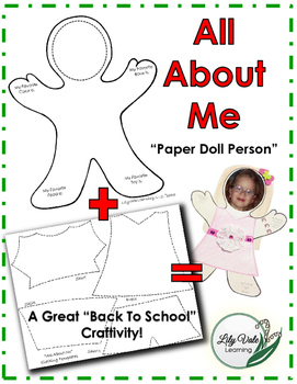 "**Back to School- ""ALL ABOUT ME"" Dress Up Paper Doll Person"