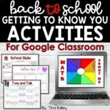 Back to School Activities   Getting to Know You Activities   Google Classroom