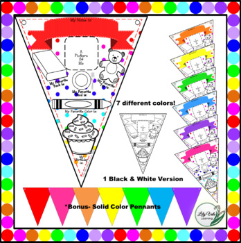 """**Back to School""""-All About Me RAINBOW Pennant Banner**"""