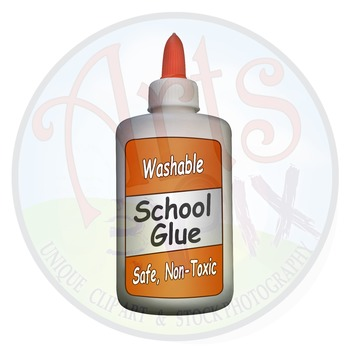 """! """"Back to School"""" Clipart Stock Photo of Generic GLUE Bottle"""