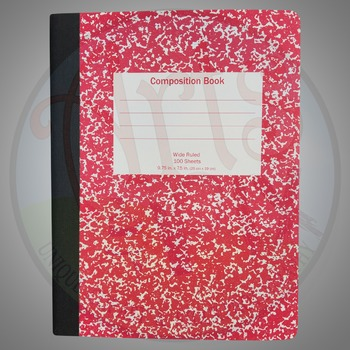 """""""Back to School"""" Clipart Stock Photo of a Composition Book"""