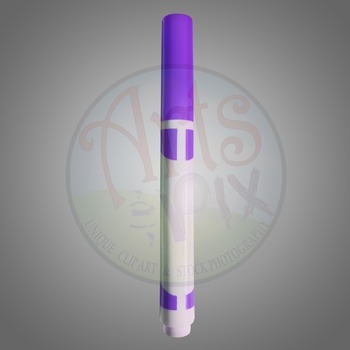 """Back to School"" Clipart Stock Photo of a Purple MARKER"
