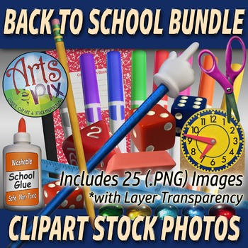 """! """"Back to School"""" supplies - Clipart Stock Photos BUNDLE - PNG"""