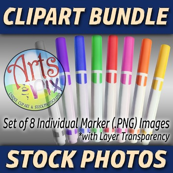"""Back to School"" Clipart Stock Photos of MARKERS - BUNDLE"