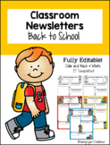 """Back to School"" Fully Editable Classroom Newsletters"