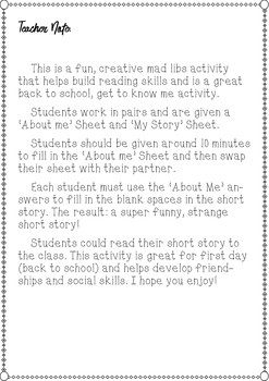 *Back to School* Mad Libs Story Writing Activity