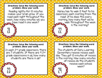 {Back to School} Multiplication Word Problem Task Cards [FREEBIE]