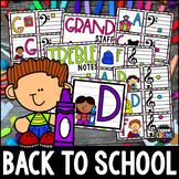 """""""Back to School"""" Music Notes Matching Flashcard Fun!  Treble and Bass Clefs"""