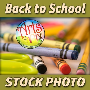 "! ""Back to School"" Photograph - Stock Photo of School Supp"