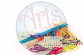 """Back to School"" - Stock Photo of School Supplies - Bottom Right corner"