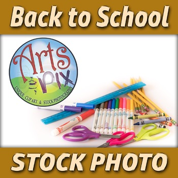 "! ""Back to School"" - Stock Photo of School Supplies - Bott"