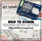 """""""Back to School"""" Student Welcome Letter/Teacher Intro"""