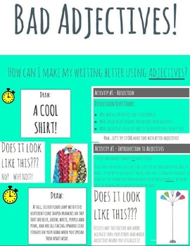 'Bad Adjectives' activity pack - 5 CC aligned presentations & activities Gr. 2-4