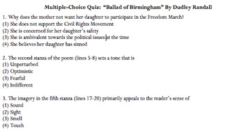"""Ballad of Birmingham"" 8 Question Multiple Choice Quiz *Plus Answer Key"