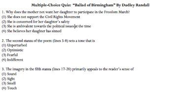 """Ballad of Birmingham"" 8 Question Multiple Choice Quiz *Pl"