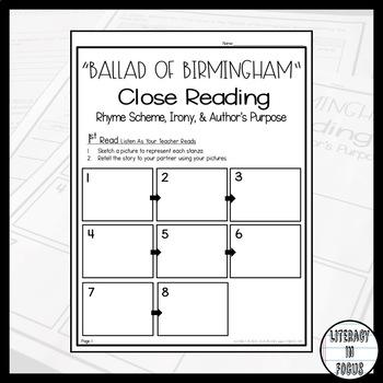 """Ballad of Birmingham"" Close Reading (Irony, Rhyme Scheme, Main Idea, & More!)"