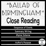 Ballad of Birmingham Reading Comprehension Worksheets